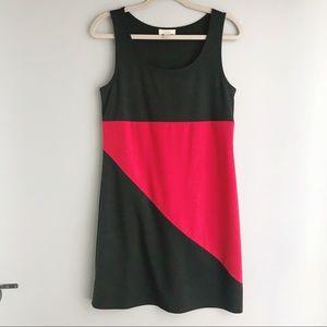 Loft Black & Red Colorblock Sheath Dress (small)